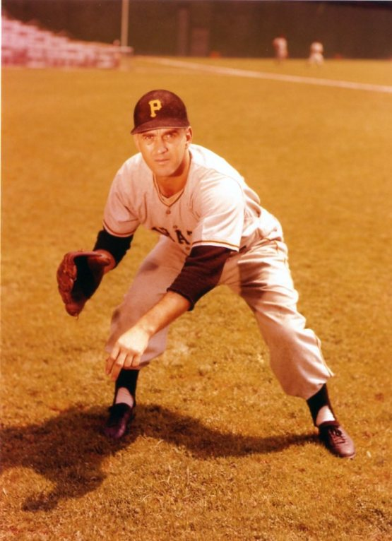 Pirates' pitcher Fred Waters - posing for his bubble gum card picture just before a game at New York's Polo Grounds in 1956 (The Topps Company)