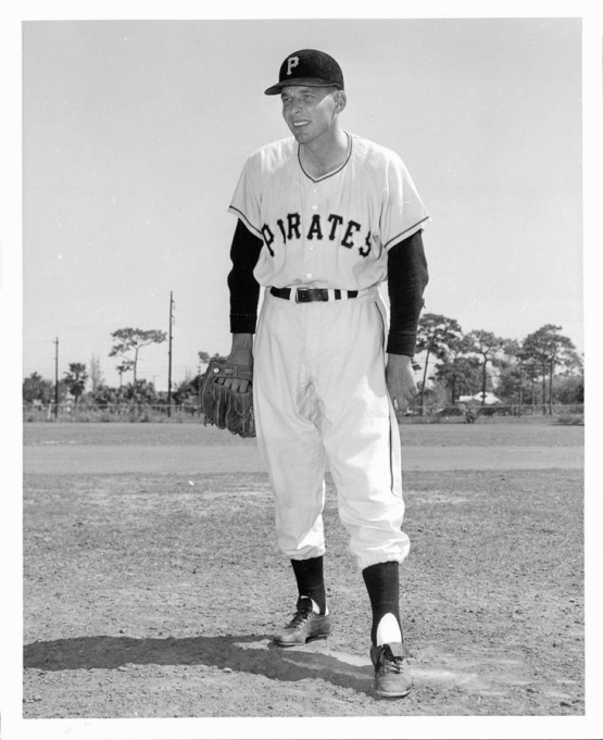 Pitcher Paul Minner, at spring training with the Pirates in 1957 (team publicity photo)